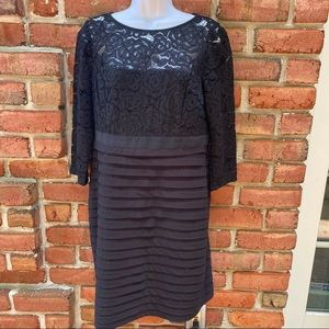 Adrianna Papell Black Tiered Lace Party Dress 12P